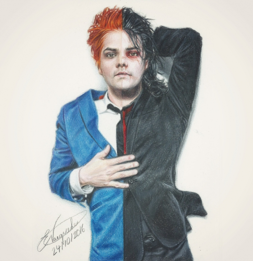 portrait of gerard way by 1dbeatle on stars portraits 2